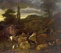 südliche landschaft mit ruhender viehherde by jacob van der does the elder