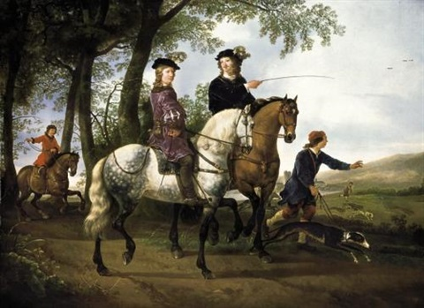 landscape with a hunt and a portrait of a youth with his tutor by aelbert cuyp