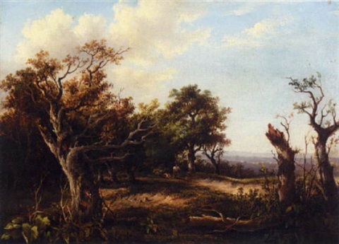 wooded landscape with rustics by charlotte nasmyth
