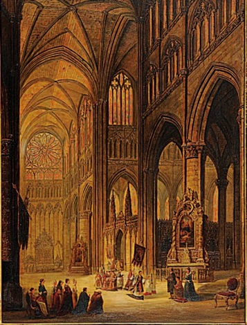 interior of the cathedral of amiens by henry c gritten