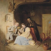 the elopement: a young suitor and his lover being pressed by the coachman for a quick getaway by sir william allan