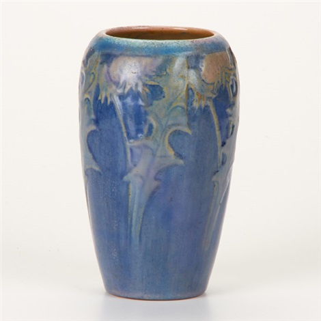 cabinet vase with floral decoration by newcomb college pottery