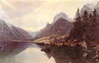paisaje de montana con rio by hans christian fischer