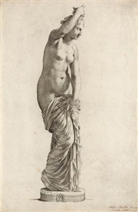 statue of a woman with a diadem * statue of a woman with a robe * statue of a faun * the medici venus (4 works) by claude mellan