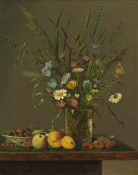 flowers in a glass vase and an arrangement of fruit by anton hartinger