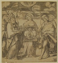 four saints and a patron by giacomo francia
