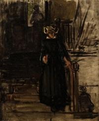 bretonne dans l'escalier by joseph bail