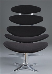corona chair and footstool (2 works) by poul volther