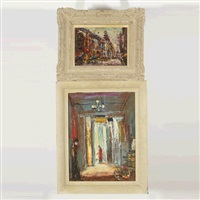 city view & man in doorway (2 works) by pascal cucaro