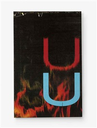 untitled (fire, red/black u) by wade guyton