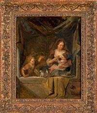 jeune femme et enfants by dutch school (18)