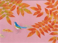 colored leaves with bird by atsushi uemura