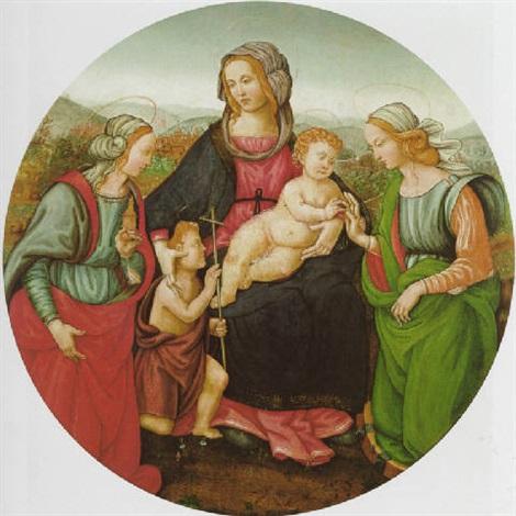 lo sposalizio mistico di santa caterina, con il giovannino e la maddalena by raffaelino del garbo