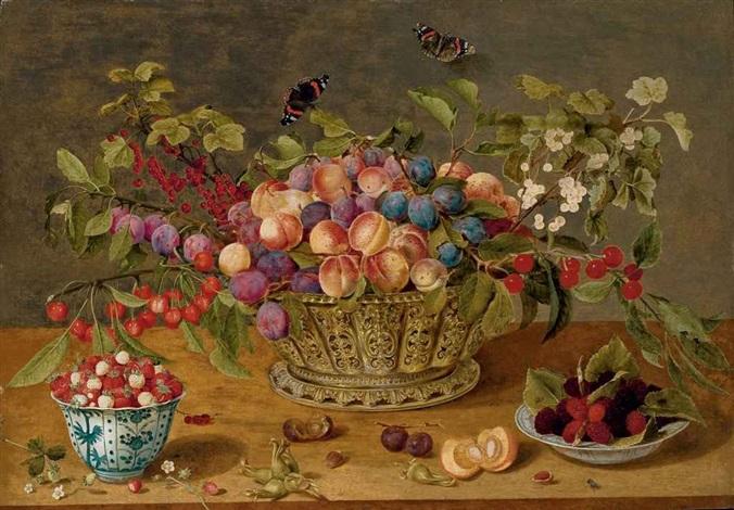 prunes abricots cerises et groseilles dans une corbeille avec coupelles de framboises et de fraises des bois sur un entablement by isaac soreau