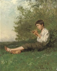 playing the flute by emile hoeterickx