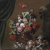 roses, poppies and carnations in a terracotta vase, with a parrot, apples and grapes on a stone ledge, a curtain to the left by simon pietersz verelst