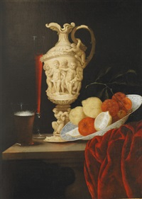 still life with carved ivory ewer by georg hainz