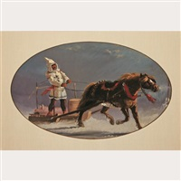 habitant, horse and sleigh by william raphael