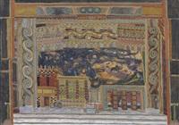set design for 'elektra': agamemnon's palace in mykonos by aleksandr yakovlevich golovin