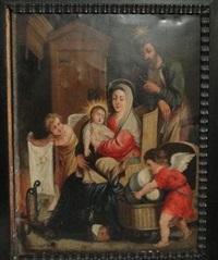 la sainte famille se réchauffant près de l'âtre, avec deux anges s'apprêtant à coucher l'enfant jésus dans un berceau en osier by erasmus quellin