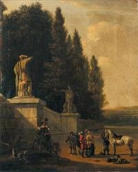 le départ des cavaliers dans le parc d'une villa by frederik de moucheron and johannes lingelbach