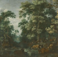 a wooded landscape with deer and cattle by a river, a sleeping herdsman nearby by gillis claesz de hondecoeter