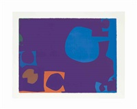 blue and deep violet with orange, brown and green by patrick heron