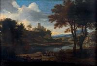 personnages et cavaliers près d'un château fortifié by jacob de heusch
