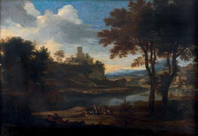 personnages et cavaliers près dun château fortifié by jacob de heusch