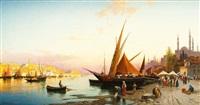 bateaux de pêche sur le bosphore by hermann david salomon corrodi