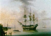 shipping off a coast in a calm by dominique de bast