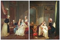 jeune femme admirant une boucle d'oreille (+ jeune femme examinant une bonnet de dentelle; pair) by niklas lafrensen the younger