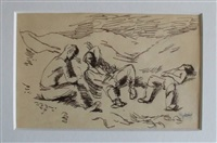three soldiers resting by keith vaughan