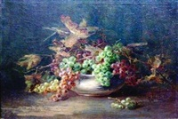 still life with leaves and a bowl of grapes by lydia m. b. hubbard