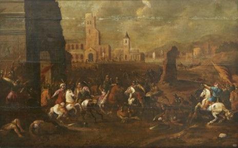 kavalleribatalj mellan turkar och kristna vid en triumfbåge by simon johannes van douw