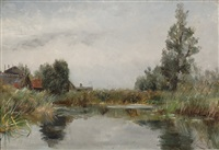 view of a lake by willem elisa roelofs