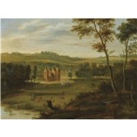 a country estate in a hilly landscape, with a milkmaid milking cows, deer and rabbits in the foreground by isaac van oosten