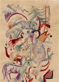 ohne titel (tiere in der landschaft) by heinrich campendonk