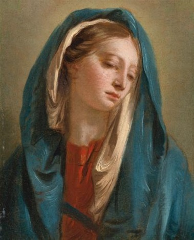 the madonna facing front and wearing a blue cloak by giovanni battista tiepolo