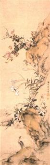 bird among lilies and roses by yamamoto baiitsu