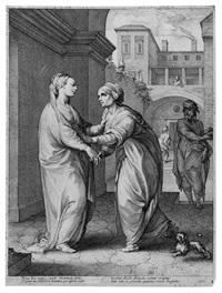 la visitazione (pl.2 da la vita della vergine, serie di 6) by hendrik goltzius