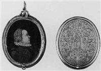 a noblewoman (madelena calendrini?) in black dress with high white ruff by antonio abondio