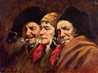 gruppe von drei rauchenden herren by roman arregui