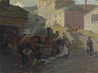 the blacksmith's shop by the old bridge, newlyn by harold harvey