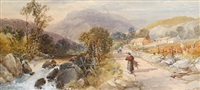 figures on a path by a river by james burrell smith