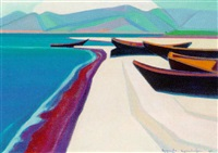 boats by the sea by artashes abraamyan