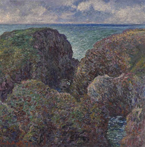 bloc de rochers à port goulphar by claude monet