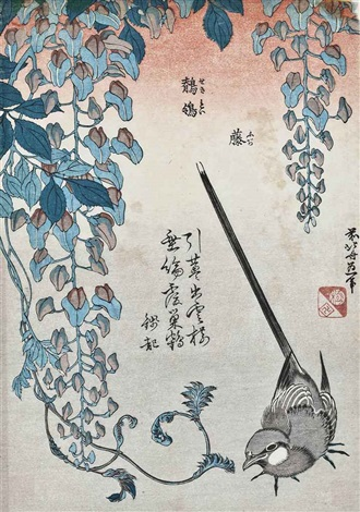 wagtail and wisteria from the small series of flowers and birds by katsushika hokusai