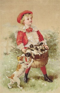 boy carrying basket of puppies, mother dog beseeching by maud humphrey