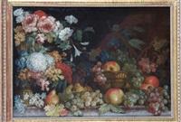 bouquet de fleurs et panier de fruits sur un entablement by louis tessier